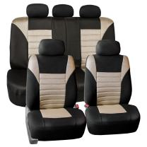 FH Group FB068BEIGE115 Beige Universal Car Seat Cover (Premium 3D Air mesh Design Airbag and Rear Split Bench Compatible)