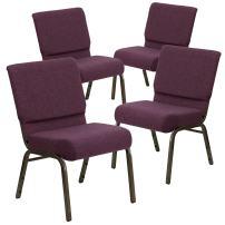 Flash Furniture 4 Pk. HERCULES Series 21''W Stacking Church Chair in Plum Fabric - Gold Vein Frame
