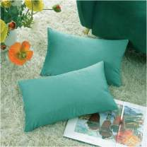 COMFORTLAND New Year/Christmas Decorative Pillow Covers 12x20 Teal Green: 2 Pack Cozy Soft Velvet Rectangular Throw Pillow Cases for Farmhouse Sofa Couch Bed Chair Home Decor Decorations