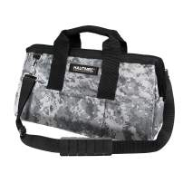 HAUTMEC 16-inch Heavy Duty Wide Open Top Tool Bag,Camouflage Zippered Storage Bag With Handle, Double 600D Fabric,HT0097-TB
