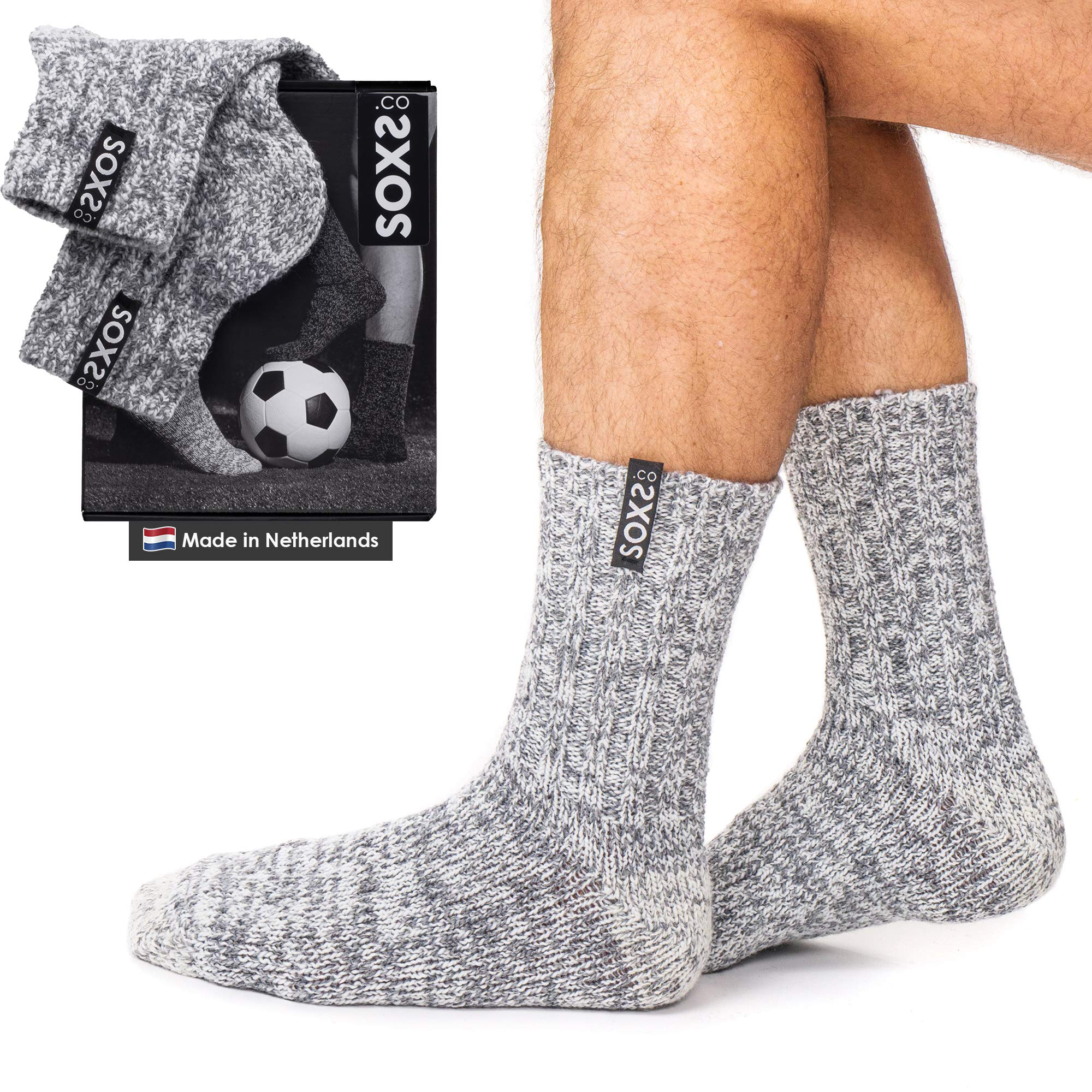 Men's Soft Warm Wool Socks Made in the Netherlands with Breathable Thick Eco-Friendly and Cozy Knit Wool, One Size Fits Most