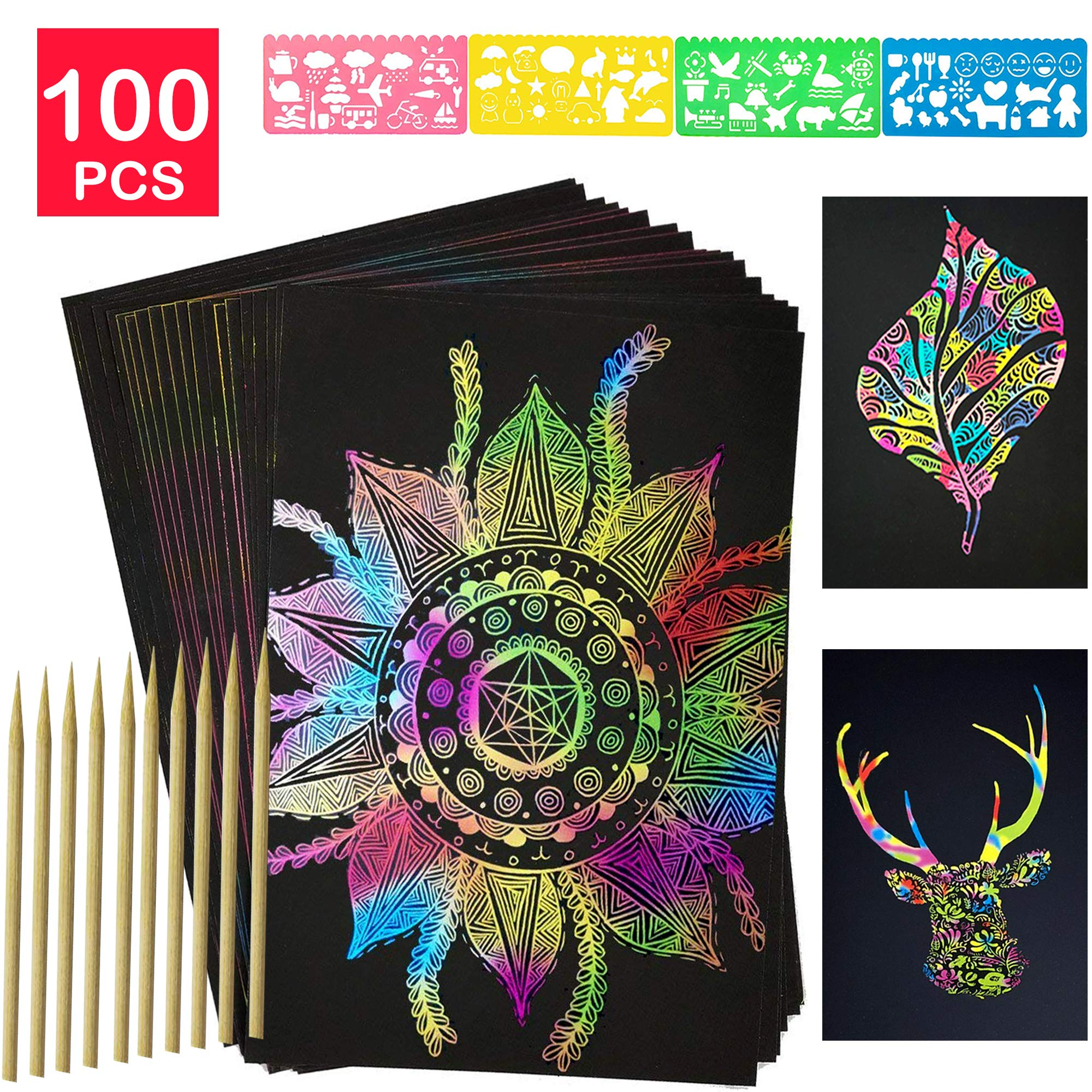 YUKKLY 100 Sheets Rainbow Scratch Paper; Scratch Art Paper; Black Doodle Pad with Rainbow Background with 10 Wooden Styluses and 4 Drawing Stencils…