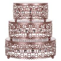 Amalfi Decor Cake Stand Plateau Riser Set of 3 Pack, Dessert Cupcake Pastry Candy Display Plate for Wedding Event Birthday Party, Round Metal Pedestal Holder with Crystal Gems, Rose Gold