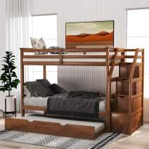 Bunk Bed Twin Over Twin, Wood Twin Bunk Bed Frame with Stairway Trundle and Storage Drawers,for Kids and Teen, Walnut