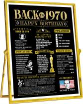 50th Happy Birthday Party Decorations for Women or Men 50 Years Old Bday Gifts | Fun Party Supplies and Favors | Gold Home Decor Ideas | Back in 1970 Banner Anniversary Reunion - 8x10 [Unframed]