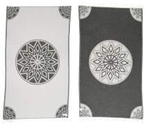 Bersuse 100% Organic Cotton Ionia Turkish Towel - 37X70 Inches, Grey/Black, 1 Piece