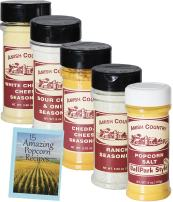 Amish Country Popcorn | Seasoning Variety Pack | 5 Bottles | Ballpark Buttersalt, Cheddar Cheese, White Cheddar, Ranch, Sour Cream and Onion | Old Fashioned With Recipe Guide