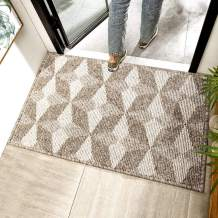 "Chrider Indoor Doormat, 24""x36"" Door Mats for Home Entrance, Machine Washable Entryway Rug, Outdoor & Indoor Welcome Mat, Non Slip Rubber Backing, Dirt and Dust Absorber(24""x 36"", Brown-Geometric)"