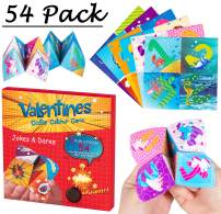 Geefuun Valentine's Day Cards for Kids - 54 Pack Jokes and Dares Cootie Catcher Cards + 54 Envelopes Game Craft Kit Classroom Exchange Gift Party Favors(No Need Fold)