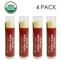 USDA Organic Lip Balm by Sky Organics - 4 Pack Cherry Lip Balms With Beeswax, Coconut Oil, Vitamin E. Best Lip Plumper Chapstick for Dry Lips- Adults & Kids Lip Repair Made In USA (Cherry Bomb)