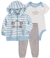 Wan-A-Beez Baby Boys' and Baby Girls' 3 Piece Hooded Jacket Bodysuit Pant Set