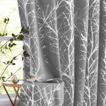 """Tree Grey Blackout Curtains Bedroom Living Room Metallic Silver Branch Window Draperies 72inches Length Forest Foil Print Curtain Panels for Basement Laundry Room 50"""" W 2 pcs"""