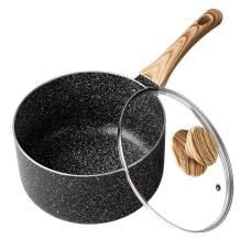 MICHELANGELO 2 Quart Saucepan with Lid,Nonstick Sauce Pan with Lid, Small Pot with Lid, Stone Coating Sauce pan 2quart, 2 Quart Small Sauce Pan, Ergonomic Bakelite Handle, Black