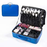makeup train cases travel Makeup Bag Cosmetic bag Storage Organizer with Removable Dividers (large, blue)