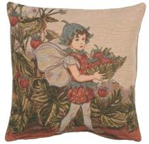 Charlotte Home Furnishings Inc. 'Cicely Mary Barker Strawberry Fairy' Authentic Jacquard Cotton Woven Gobelin French Tapestry Pillow Cases | 18 x18 in.| Home Decor Couch Pillow Covers