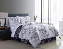 VCNY Leaf 8-Piece Comforter Set, King, Navy and White