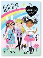 Jewelkeeper Cool Girls Rainbow Design Writing Kit, Girls Stationery Paper Letter Set, Stickers, Envelope Seals