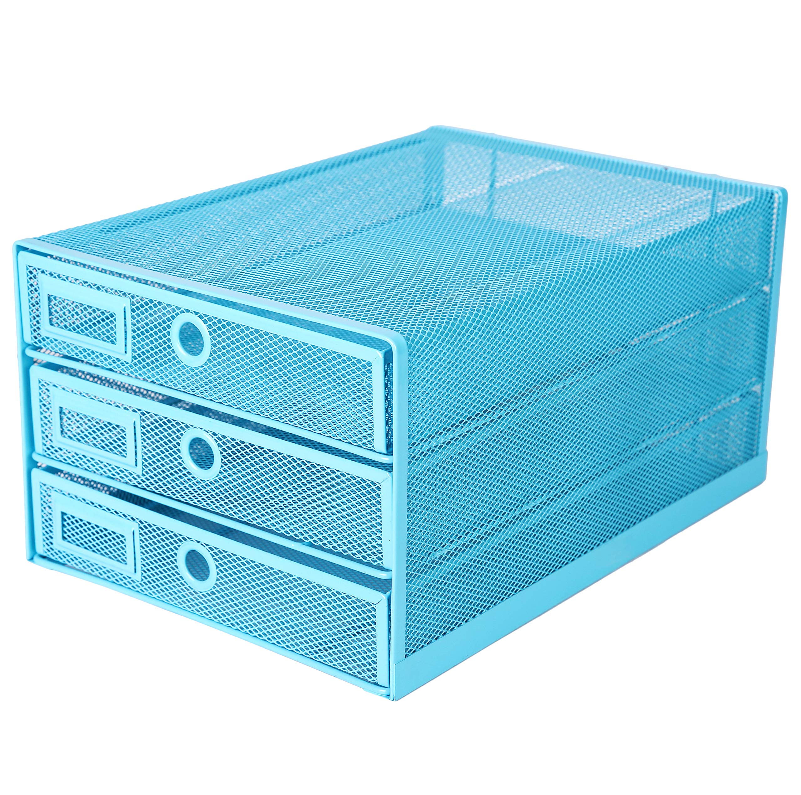 Exerz Desk Organizer Wire Mesh 3 Tier Sliding Drawers Paper Sorter/Multifunctional/Premium Solid Construction for Letters, Documents, Mail, Files, Paper, Kids' Art Supplies (Blue)