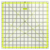 "ARTEZA Quilting Ruler, Laser Cut Acrylic Quilters' Ruler with Patented Double Colored Grid Lines for Easy Precision Cutting, 12.5"" Wide x 12.5"" Long for Quilting, Sewing & Crafts, Black & Lime Green"