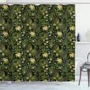 """Ambesonne Sage Shower Curtain, Spring Inspired Ornaments Butterflies Little Blossoms Swirled Leaves Vintage, Cloth Fabric Bathroom Decor Set with Hooks, 75"""" Long, Yellow Black"""