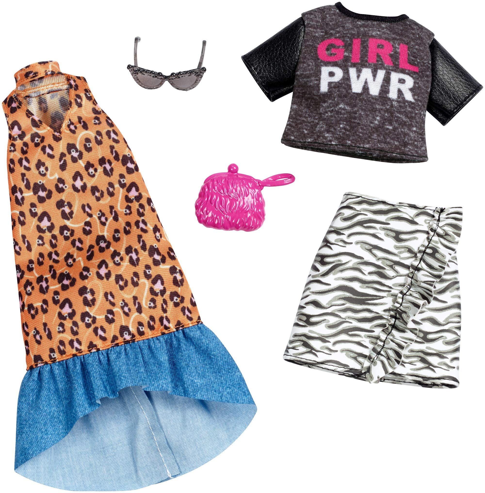 """Barbie Clothes: 2 Outfits for Barbie Doll Feature """"Girl Power"""" Tee and Animal Prints On Long Dress and Ruffled Skirt, Gift for 3 to 8 Year Olds"""