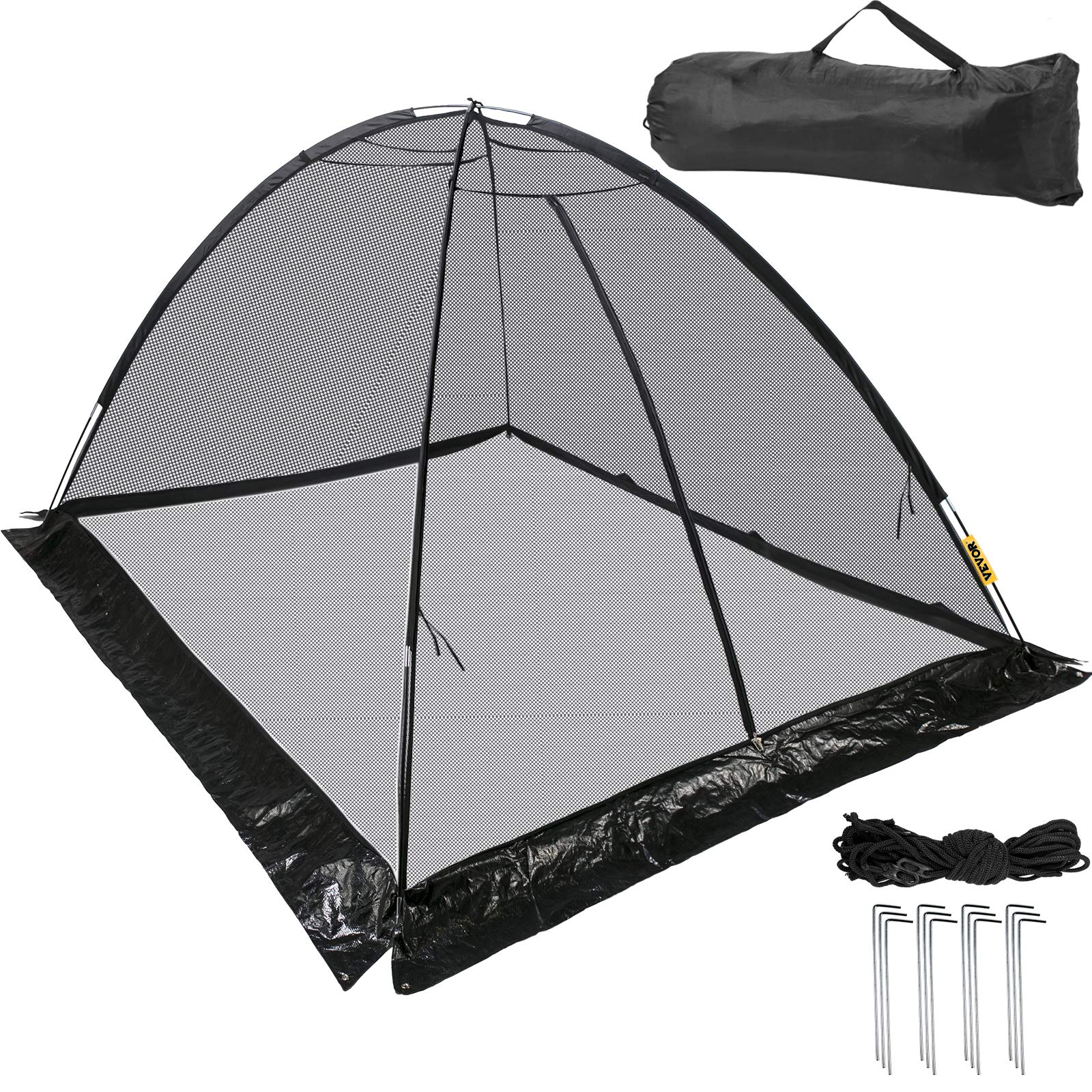 Happybuy Pond Cover Dome, 7x9 FT Garden Pond Net, 1/2 inch Mesh Dome Pond Net Covers with Zipper and Wind Rope, Black Nylon Pond Netting for Pond Pool and Garden to Keep Out Leaves Debris and Animals