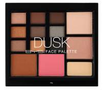 BYS Dusk Face Palette - Ultimate smokey look. All in one palette includes 9 matte and metallic eyeshadows, 2 shimmery highlight powders, a bronzer, blush and eyeshadow primer