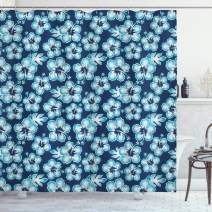 "Ambesonne Navy Shower Curtain, Hibiscus Hawaiian Tropical Island Flowers Petals and Buds Leaves Art Print, Cloth Fabric Bathroom Decor Set with Hooks, 70"" Long, Dark Blue"
