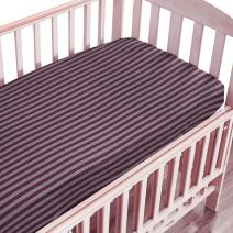 "NTBAY Toddler Fitted Crib Sheet 100% Organic Cotton with Striped Design, Soft and Cozy, Purple, 28""x 52""+10"""