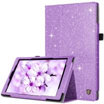 BENTOBEN Case for Amazon Fire HD 10 Tablet (9th/7th/5th Generation,2019/2017/2015 Release)-Bling Sparkly Folding Stand Cover with Stylus Holder &Auto Wake/Sleep Smart Case for Fire HD 10,Purple