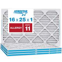 """Aerostar Allergen & Pet Dander 16x25x1 MERV 11 Pleated Air Filter, Made in The USA, (Actual Size: 15 3/4""""x24 3/4""""x3/4""""), 4-Pack"""