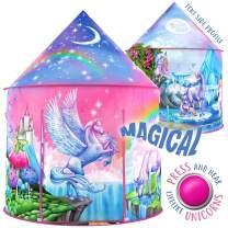 W&O Rainbow Unicorn Tent for Girls with Magical Unicorn Sounds, Unicorn Toys for Girls, Princess Tent for Girls, Kids Tent, Pop Up Tent for Kids Play Tent, Outdoor & Indoor Tent, Play Tents for Girls