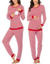 Ekouaer Maternity & Nursing Thermal Underwear Set Striped Knit Long Johns Set Top & Bottom Base Layer for Pregnant Women