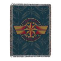 "Marvel Captain Marvel, ""Blue Badge"" Woven Tapestry Throw Blanket, 48"" x 60"", Multi Color"