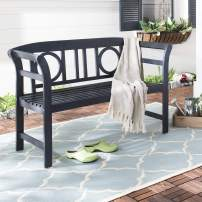 Safavieh PAT6743K Outdoor Collection Moorpark Grey 2 Seat Bench, Dark Slate Gray