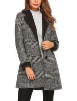 ACEVOG Women's Single Breasted Wool Blended Midi Long Plaid Coat