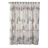 SKL HOME by Saturday Knight Ltd. Snowman Land Shower Curtain and Hook Set, Multicolored