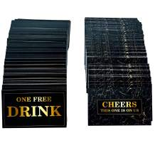 RXBC2011 500 Free Drink Tickets for party, marble card for free drink Coupons Wedding Halloween Work Event Bar Black Gold