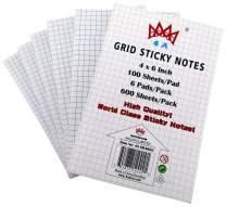 4A Grid Sticky Notes,4 in x 6 in,Large Size,The Adhesive On Shorter Side,White Paper with Black Grid,Self-Stick Notes,100 Sheets/Pad,6 Pads/Pack,4A GR4066