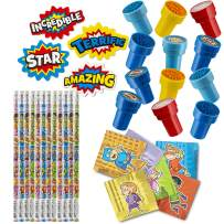 Favonir™ 48 Superhero Party Favors Stationery Stuffers – 12 Erasers – 12 Super Hero Themed Notepads – 12 Wooden Pencils – 12 Stickers - Kids Party Supplies Bulk Set - Ideal As Party Favor Novelty Goody Bag Stuffer, Reward Prizes, Carnival And Birthday Events