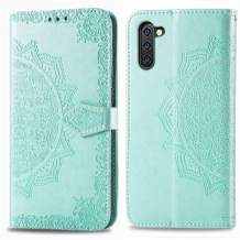Cmeka 3D Mandala Wallet Case for Samsung Galaxy Note 10 Plus 10+ with Credit Card Slots Holder Magnetic Closure Slim Flip Leather Kickstand Function Protective Case Mint Green