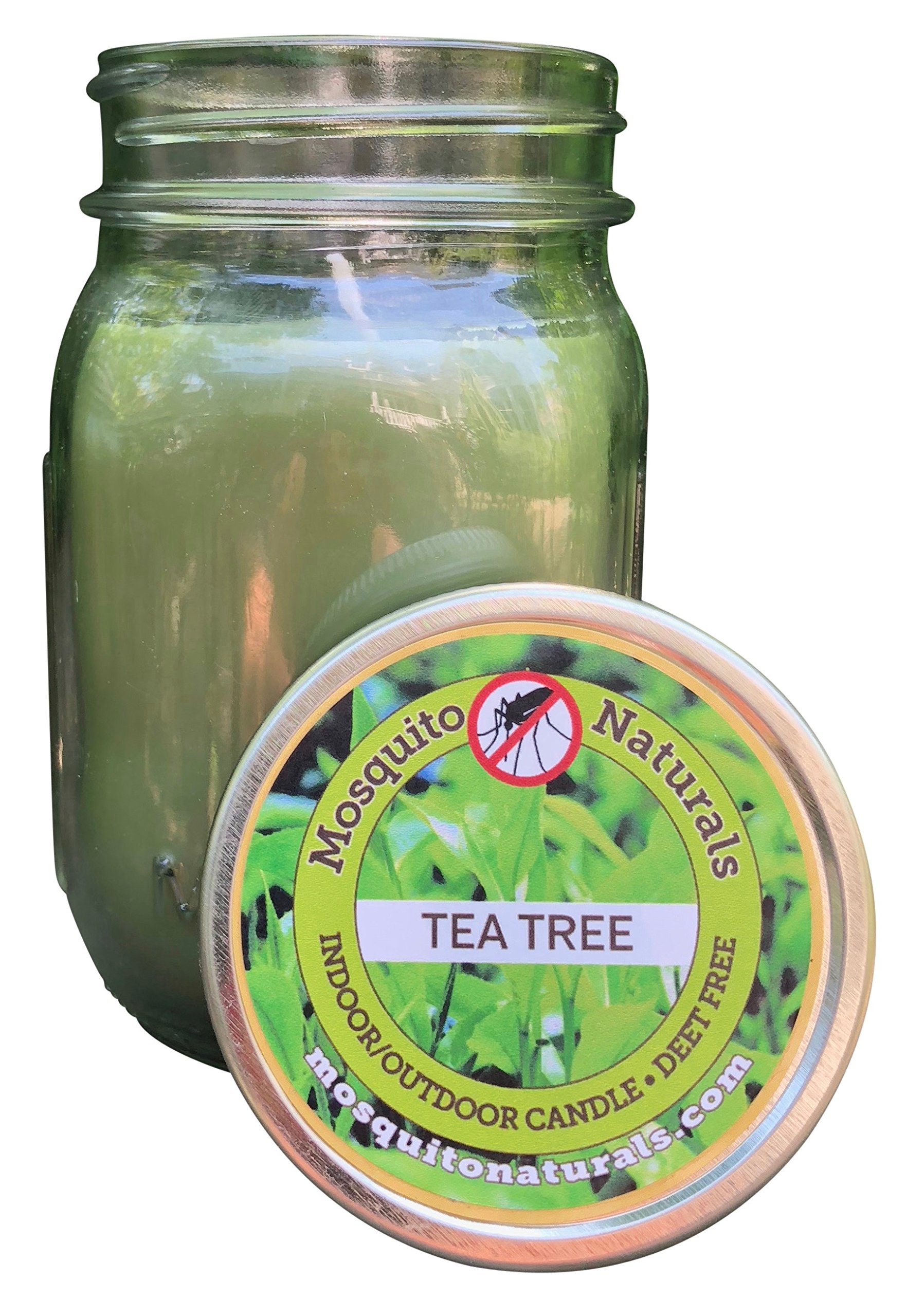 Natural Tea Tree Mosquito Repellent Candle Indoor/Outdoor - 88 Hour Burn - Naturally Repels Insects with Essential Oils, Citronella Soy, Mason Jar, Made in USA