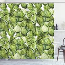 """Ambesonne Cactus Shower Curtain, Cactus Petals Spikes Sun and Flowers in a Hot Mexican Desert Nature Beauty Artwork Print, Cloth Fabric Bathroom Decor Set with Hooks, 70"""" Long, Green"""