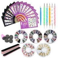 Nail Art Tools Decoration Manicure Pedicure Tool Set Kit 16Pcs Nail Stickers,5 Boxes Nail Beads Rhinestones Stone Studs 3D Resin,5 Nail File Sticks,5 Nail Dotting Pen,Nail Stamping Sponge Pusher(32C)