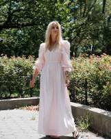 The Drop Women's Pastel Pink Loose Fit V-Neck Balloon Sleeve Maxi Dress by @thefashionguitar