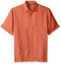 Cubavera Men's Short Sleeve 100% Linen Button-Down Shirt with Embroidery
