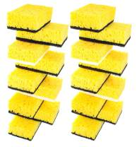 Okleen Yellow Multi Use Scrub Sponge. Made in Europe. Large Pack of 18. 4.3x2.8x1.4 inches. Black Heavy Duty & White Non Scratch Fiber. Best Odorless & Durable Professional Scrubber for Commercial Use