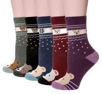 Velice Women's Winter Wool Socks Soft Warm Cozy Thickened Crew Causul Socks 5 Pairs