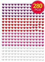 Baker Ross Heart Crystal Stick-on Stones Gems Stickers Self-Adhesive Glitter Kids Crafts Art Supplies (Pack of 280) - Decoration for Valentine's, Mother's Day or Carnival / Mardi Gras