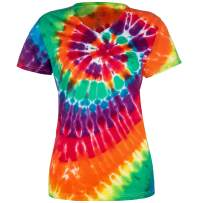 Magic River Ladies V Neck Tie Dye T Shirts for Women - 5 Women's Sizes - 6 Color Patterns